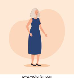 old woman with dress casual clothes