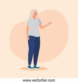 old woman with shirt and jean casual clothes