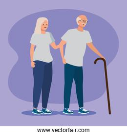old woman and man couple with casual clothes