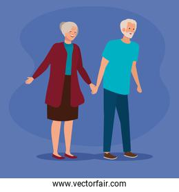 old woman and man couple together over purple