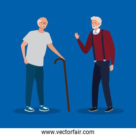 old women with walking stick and hairstyle
