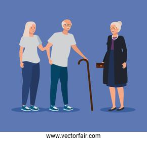 old woman and man couple together and friend