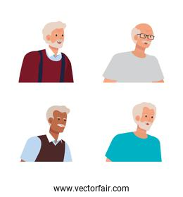 set of old men with blouse and casual clothes
