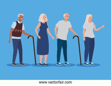 set of old women and men with walking stick