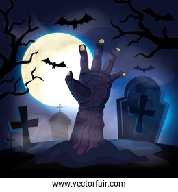 hand of zombie with cemetery in halloween scene