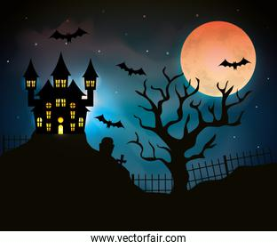haunted castle with dry tree in halloween scene