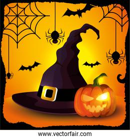 hat of witch with pumpkins and animals in halloween scene