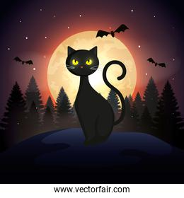 halloween cat with bats flying and moon in dark night
