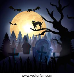 halloween cat over dry tree in cemetery