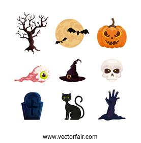 bundle of halloween with set icons