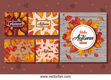 set backgrounds of autumn with leafs decoration