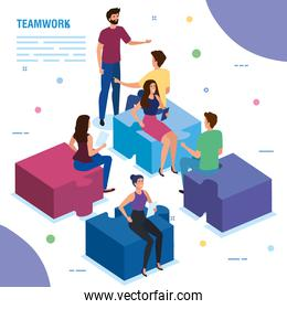 teamwork people sitting in puzzle pieces