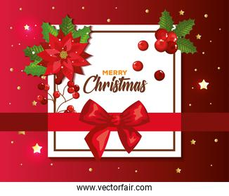 poster of merry christmas with ribbon bow and decoration