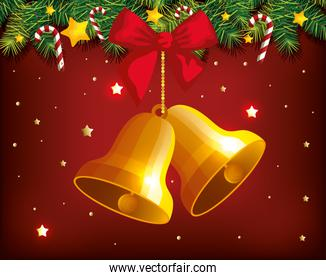 christmas poster with bells hanging and decoration