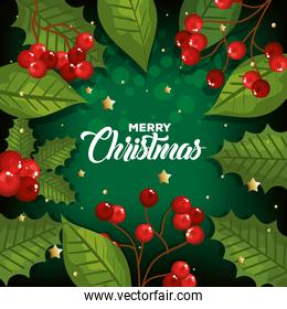 poster of merry christmas with leafs decoration