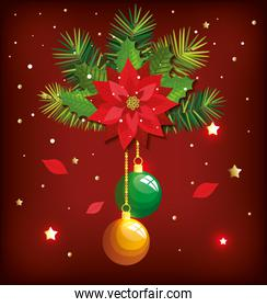 christmas poster with balls hanging and decoration