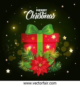 poster of merry christmas with gift box and decoration