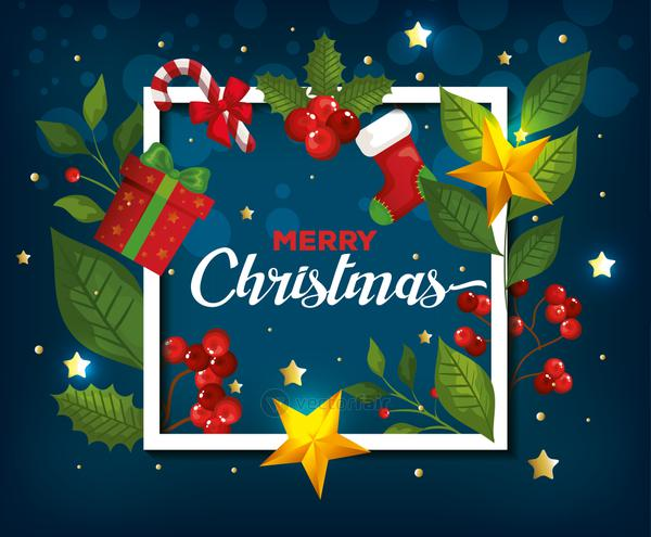 poster of merry christmas and frame with decoration