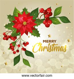 poster of merry christmas with flower and decoration