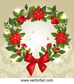 christmas poster with wreath and decoration