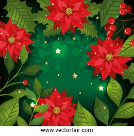 christmas poster with flowers and decoration
