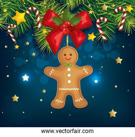 christmas poster with ginger cookie and decoration