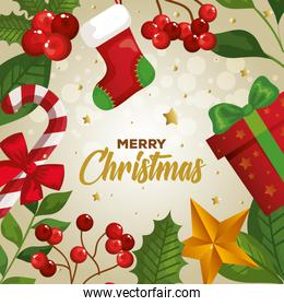 poster of merry christmas with decoration