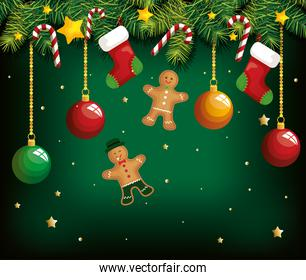 christmas poster with ginger cookies hanging and decoration