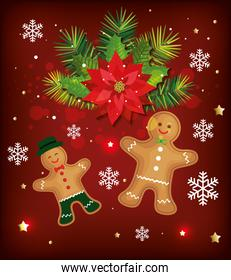 christmas poster with ginger cookies and decoration
