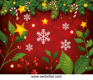 christmas poster with leafs and decoration
