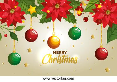 poster of merry christmas with balls hanging and decoration