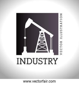 oil industry plant silhouette style