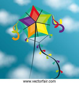 Kite flying in cloudscapes
