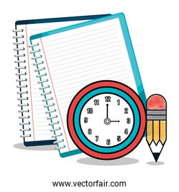 notebook and pencil isolated icon design