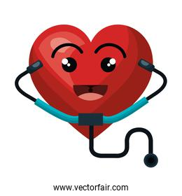 heart character with stethoscope isolated icon design
