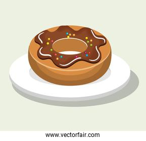 delicious and sweet donut isolated icon illustration