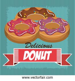 delicious and sweet donut isolated icon design