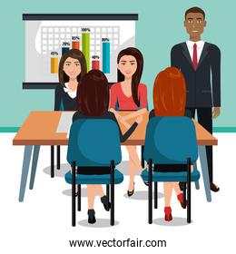 business people in training process isolated icon design