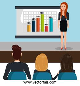 businesspeople in training process  isolated icon design