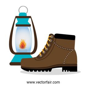 camping boots shoes with lamp isolated icon design