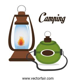 camping lamp with canteen isolated icon design