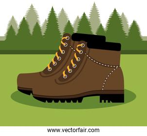 camping boots shoes  isolated icon design