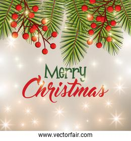 happy merry christmas floral decoration icon