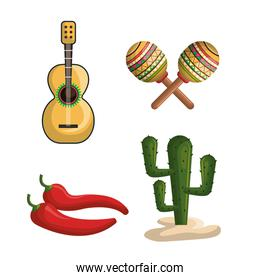 mexican culture set icons isolated