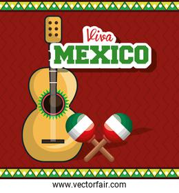viva mexico instrument musical isolated poster