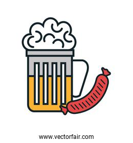 beer and sausage isolated icon