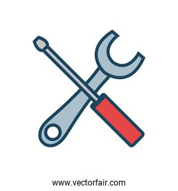 wrench and screwdriver vector illustration