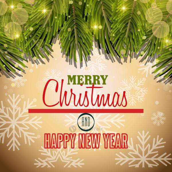 happy merry christmas card isolated