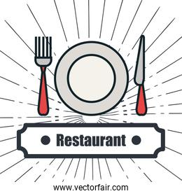 menu restaurant delicious food line isolated