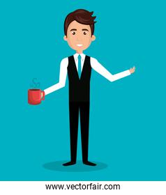 man cartoon holding cup coffee isolated